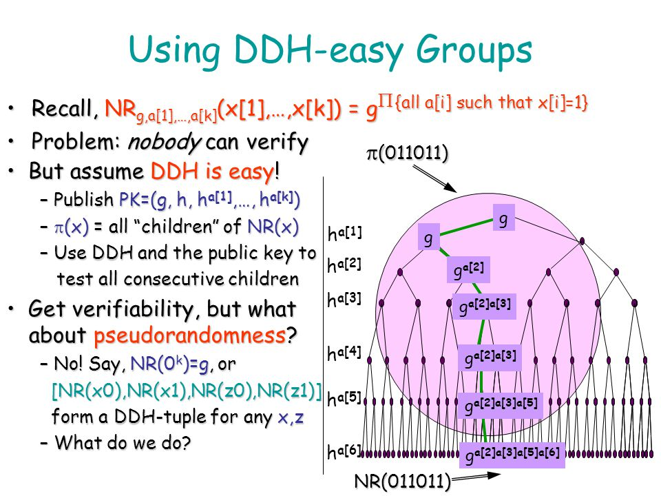 Using DDH-easy Groups Recall, NRg,a[1],…,a[k](x[1],…,x[k]) = gP {all a[i] such that x[i]=1} Problem: nobody can verify.